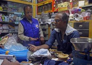 BMC officials inspect shops near JJ Hospital for banned plastic.