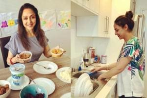 Esha Deol and Hema Malini are holidaying at an unknown destination.