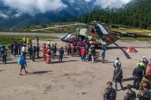 Indian pilgrims being evacuated from Simikot to Surkhet and Nepalganj, as authorities stepped up efforts to rescue those stranded there due to heavy rain while returning from the Kailash Mansarovar pilgrimage.
