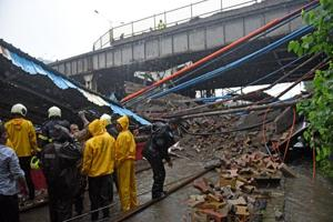 Gokhale foot overbridge collapsed in Andheri, Mumbai, on Tuesday, July 3, 2018.