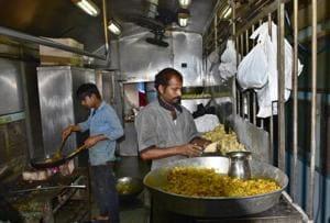 Food being prepared in Train Pantry at Ludhiana Railway station.