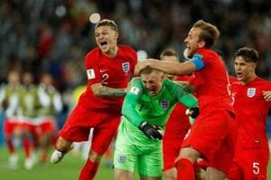 England (in pic) beat Colombia 4-3 on penalties to advance to the quarter-finals of the FIFA World Cup 2018.