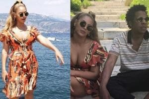 Beyoncé and Jay-Z can be seen chilling on steps and posing for photographs.