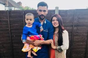 Pakistan pacer Mohammad Amir with wife Narjis and their child.