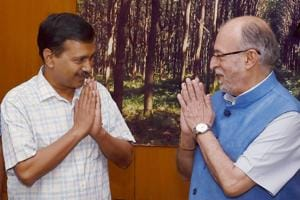 Liutenant Governor of Delhi, Anil Baijal with Delhi Chief Minister Arvind Kejriwal. The Aam Aadmi Party's politics is based on a protest-based approach that requires it to be opposed to all formal political formations, and which, as a result doesn't naturally take to being in power. The BJP, as evident from its electoral strategy since late 2013, wants it all, and seems to believe the ends justify the means.