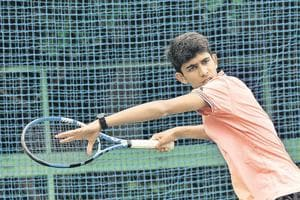 Siddhant Banthia practices at Solaris club on Wednesday. The 17-year-old from Kalyaninagar has been playing the sport for over a decade and is the country's highest ranked junior singles player.