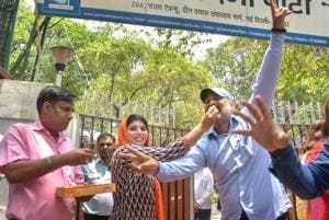 Aam Aadmi Party (AAP) workers celebrate the verdict of Supreme Court on the power tussle between the Delhi government and the Centre decision, outside party office, in New Delhi on Wednesday, July 04, 2018.