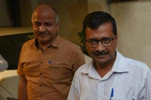 Delhi Chief Minister Arvind Kejriwal with his deputy Manish Sisodia in New Delhi on Wednesday, July 4, 2018.