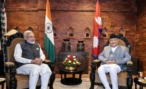 Prime Minister Narendra Modi with his Nepali counterpart KP Sharma Oli during delegation level talks in Kathmandu earlier this year