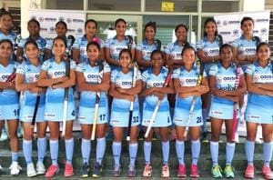The 18-member Indian women's hockey team that will take part in the Asian Games in Indonesia.