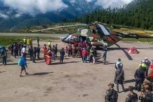 Indian pilgrims being evacuated from Simikot to Surkhet and Nepalganj, as authorities stepped up efforts to rescue those stranded there due to heavy rain while returning from the Kailash Mansarovar pilgrimage in Tibet in Simikot on July 4.