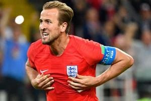 Harry Kane celebrates after scoring the opening goal for England during the FIFAWorld Cup 2018 match against Columbia.