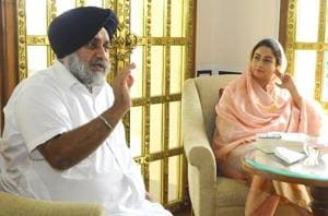 SADpresident Sukhbir Singh Badal with wife and Union minister Harsimrat Kaur Badal during the interview.