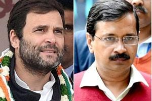 A combination photograph of Congress president Rahul Gandhi (left) and Delhi chief minister Arvind Kejriwal.