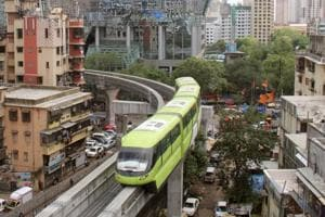 A trial run of Mumbai monorail Phase II project at Currey Road junction. The Phase II of Mumbai monorail will be running from Wadala to Jacob Circle when operational.