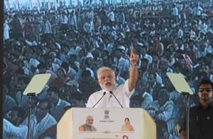 Prime Minister Narendra Modi addresses to the beneficiaries of various welfare schemes of the BJP government, at a meeting in Amrudon Ka Bagh, in Jaipur, Rajasthan.