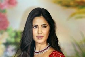 Bollywood actor Katrina Kaif poses for a picture during the wedding reception of Sonam Kapoor and businessman Anand Ahuja in Mumbai.