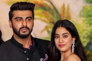 Kapoor cousins Arjun Kapoor and Janhvi Kapoor pose for a picture during the wedding reception of Bollywood actor Sonam Kapoor and businessman Anand Ahuja in Mumbai.