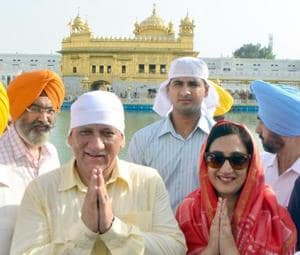 Indian Army Chief General Bipin Rawat along with his wife Madhulika Rawat paying obeisance at the Golden Temple in Amritsar on Sunday.