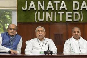 Bihar chief minister and JD(U) chief Nitish Kumar, general secretary KC Tyagi and general secretary (Organisation) RCP Singh during National Executive meeting at party headquarters in New Delhi on Sunday, July 8, 2018.