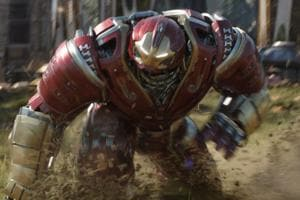 Bruce Banner wears the Hulkbuster armour in a still from Avengers: Infinity War.