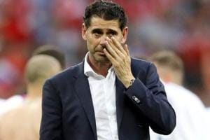 Spain coach Fernando Hierro looks dejected after losing the penalty shoot-out against Russia in FIFAWorld Cup 2018.