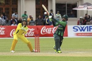 Fakhar Zaman, right, in action, on the final day of the T20 match between Australia and Pakistan, at the Harare Sports Club, in Harare.