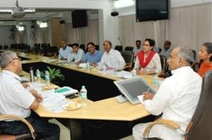School education minister Arvind Pandey at a meeting with the officials of education department and SIT, in Dehradun on Monday.