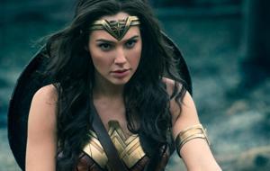 Gal Gadot in her full Wonder Woman regalia.