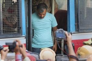 Surinder Kuma, one of the eight accused in the alleged Kathua rape and murder case of an eight-year-old girl, being produced before the district and sessions court, in Pathankot, Punjab.