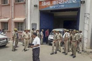 Police personnel at the Baghpat District Jail, where gangster Munna Bajrangi was shot dead, allegedly by an inmate.