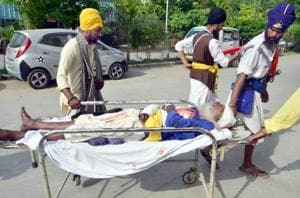 A nihang injured in the attack at the Guru Nanak Dev Hospital in Amritsar on Monday.