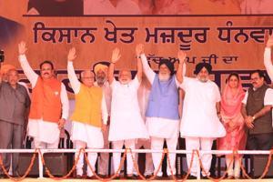 PM Narender Modi , former Punjab CMParkash Singh Badal, Haryana CM Manohar Lal Khattar at Malout in Muktsar on Wednesday.