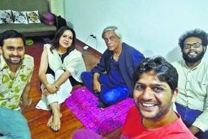 Manjari Chaturvedi with Sudhir Mishra (centre) and friends.
