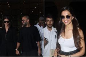 Deepika Padukone, Sonam Kapoor and Anand Ahuja at the airport.