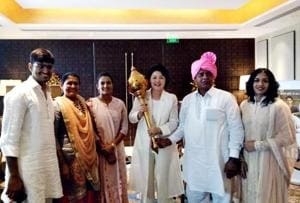 The First Lady of South Korea, Kim Jung-sook (holding mace) met the Phogat family in Delhi.