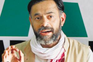 Swaraj India leader Yogendra Yadav during a press conference in Mumbai.