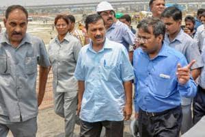 Delhi Chief Minister Arvind Kejriwal inspects the Coronation Sewage Treatment Plant (STP) site at Burari, Delhi, on July 10, 2018.