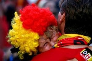 Belgium fan reacts after the loss against France in FIFA World Cup 2018 semi-final.