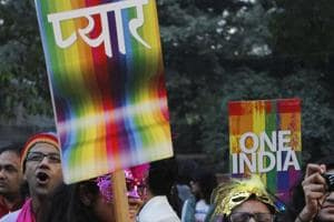 Gay rights supporters take part in the LGBTQ parade in New Delhi.