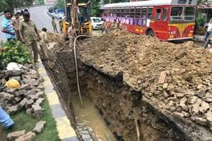 Repair work underway after a water pipeline burst near Parel flyover on Thursday morning.