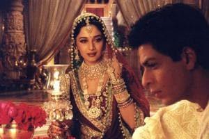 Madhuri Dixit played courtesan Chandramukhi while Shah Rukh Khan played the alcoholic Devdas in Sanjay Leela Bhansali's film.