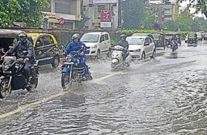 The water-logged SV Road in Santacruz on Tuesday.
