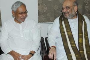 Bihar chief minister Nitish Kumar with Bharatiya Janata Party (BJP) president Amit Shah at the state guest house in Patna.