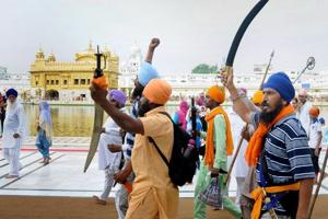People shout pro-Khalistan slogans at a demonstration marking the 34th anniversary of the Operation Blue Star, at Golden Temple in Amritsar.