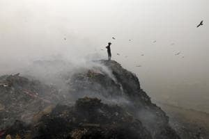 The Bhalswa Landfill in New Delhi. Burning of garbage adds to Delhi air pollution.