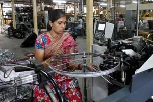 A worker at a cycle factory in Ludhiana. Punjab did not figure among top five states in any of the 12 reform areas.