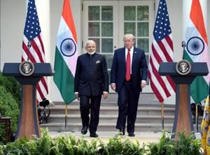 Prime Minister Narendra Modi meets USPresident Donald Trump at White House in Washington DC.