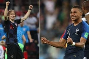 Croatia's Luka Modric (L) and Kylian Mbappe of France will be key in the FIFA World Cup final in Moscow on Sunday night.