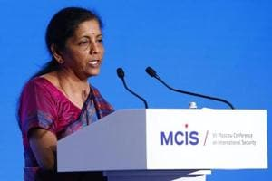Defence Minister Nirmala Sitharaman delivers a speech during the annual Moscow Conference on International Security (MCIS) in Moscow, Russia.